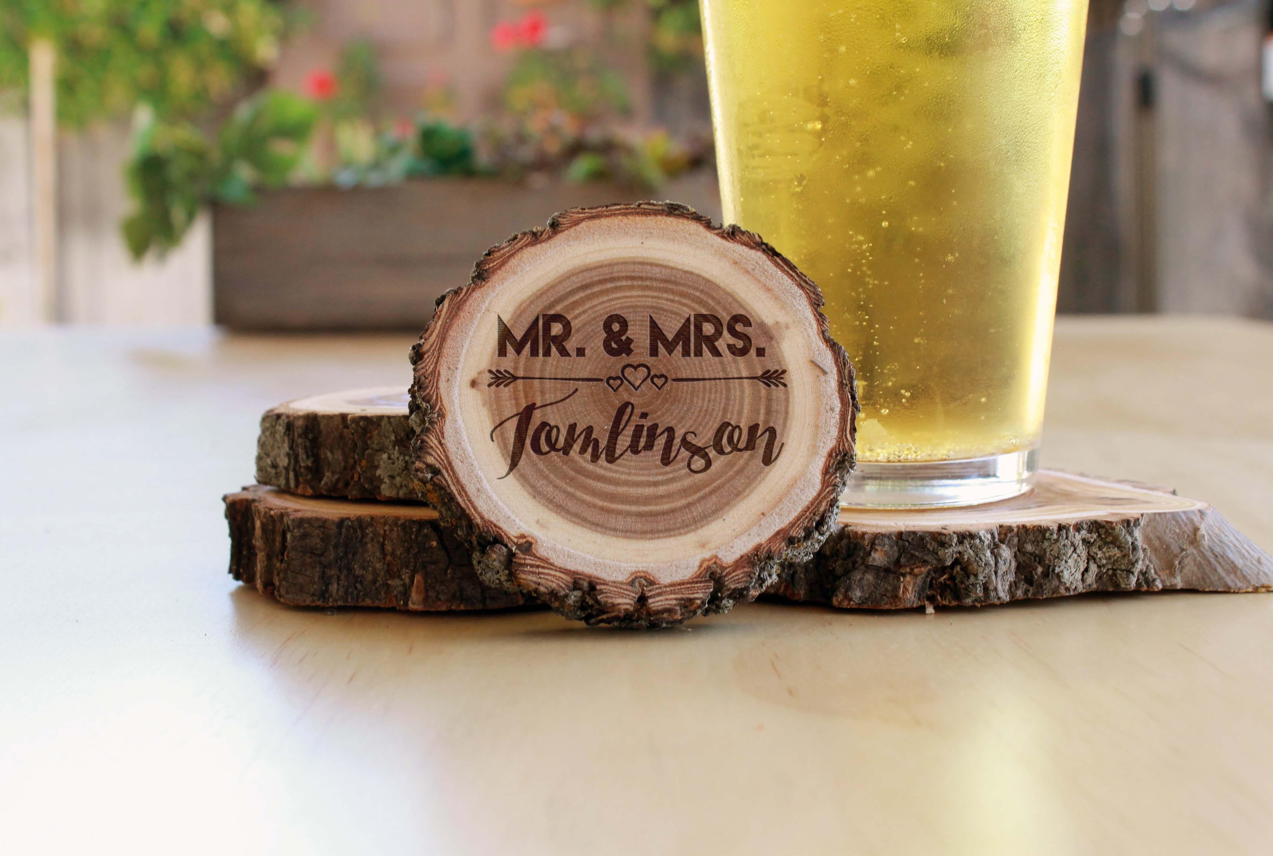 Personalized Wood Log Coasters | Tomlinson