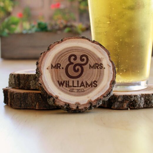 Personalized Wood Log Coasters | Williams