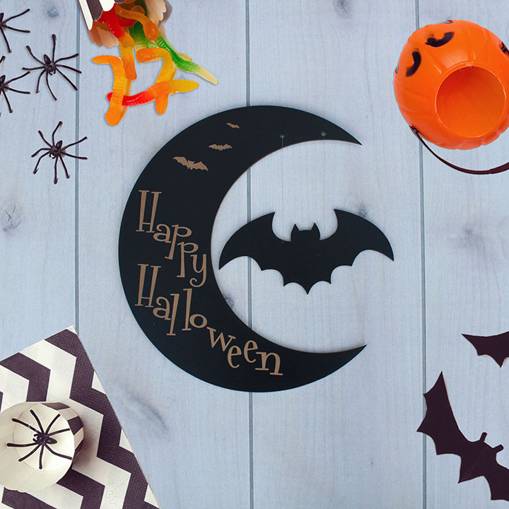 Custom Crescent Moon Halloween Sign | Bat