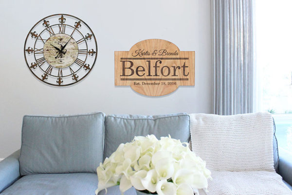 Personalized Wood Family Name Sign   Belfort
