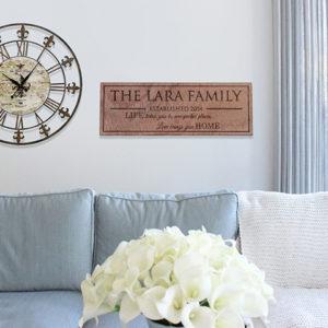 Personalized Wood Family Name Sign | Lara