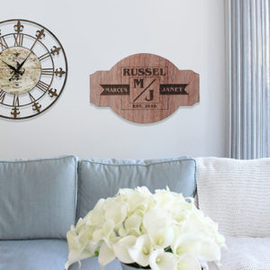 Personalized Wood Family Name Sign | Marcus Janet
