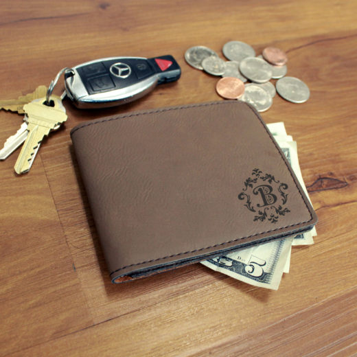 Personalized Leather Wallet | B Scroll