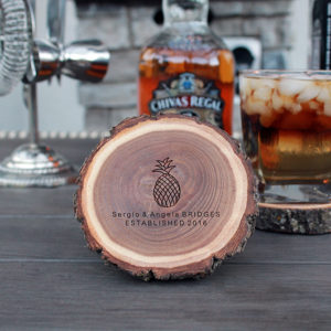 Personalized Wood Log Coasters | Bridges