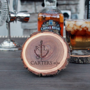 Personalized Wood Log Coasters | Carters