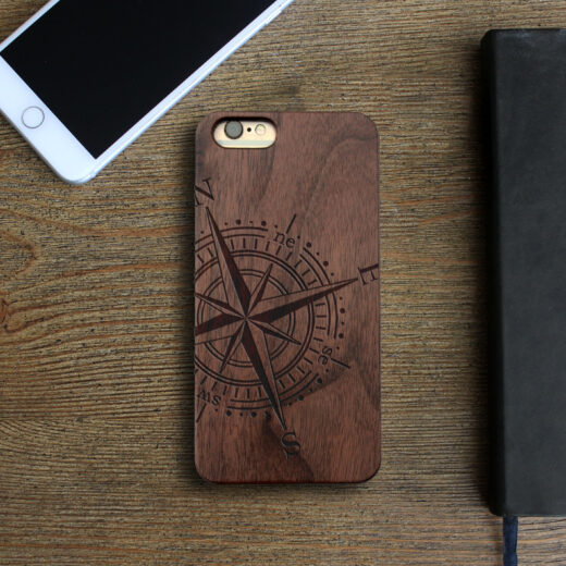 Personalized Wood Iphone Case   Compass