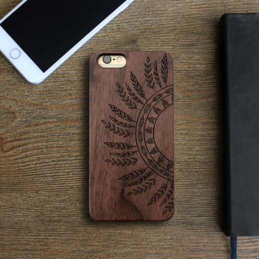 Personalized Wood Iphone Case   Feathers