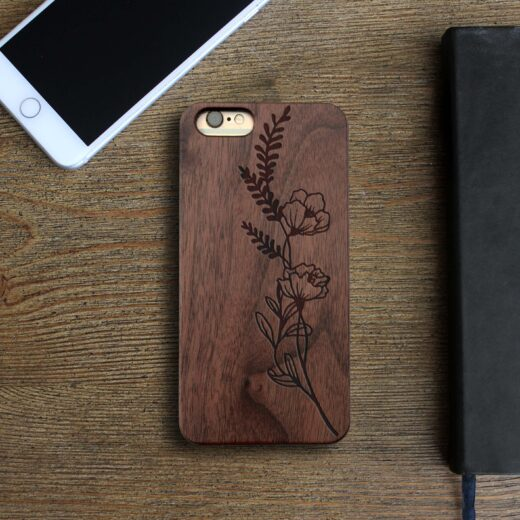 Personalized Wood Iphone Case   Flowers