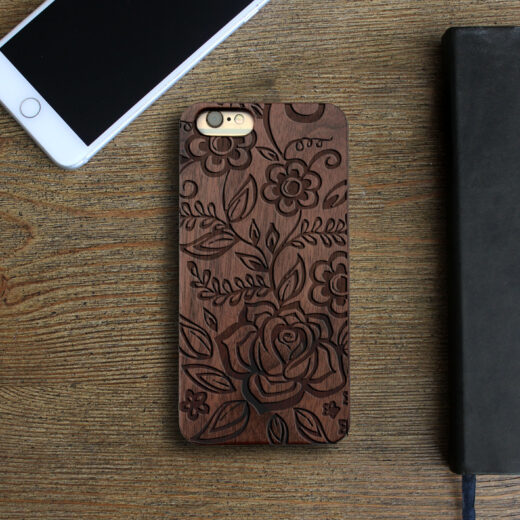 Personalized Wood Iphone Case   Flowers 2