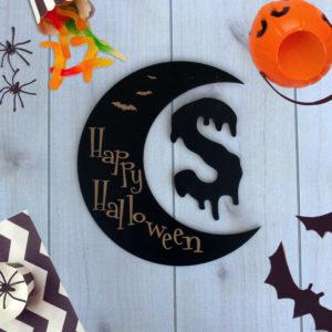Custom Crescent Moon Halloween Sign | Initial