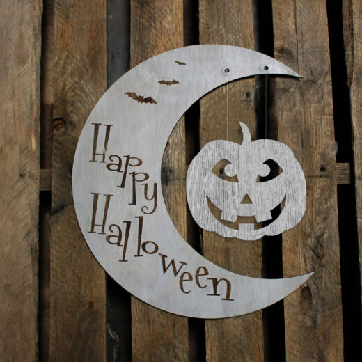Custom Crescent Moon Halloween Sign | Pumpkin