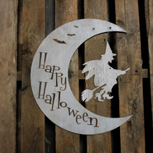 Custom Crescent Moon Halloween Sign | Witch