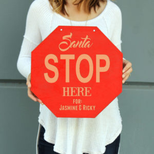 Personalized Christmas Sign | Santa Stop Here Sign