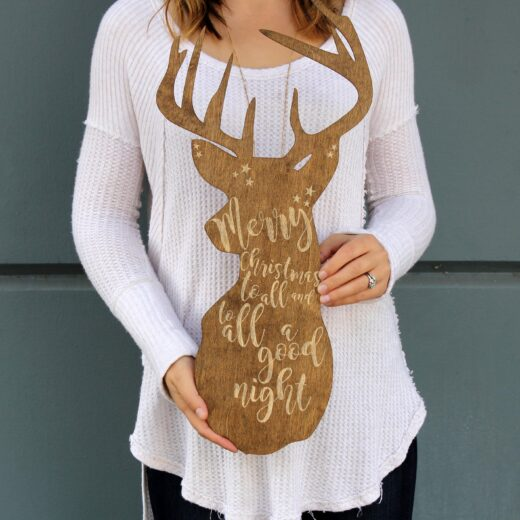 Personalized Christmas Sign | Wood Reindeer Sign