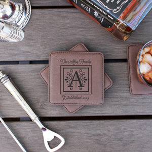 Personalized Leatherette Coasters | Alloy