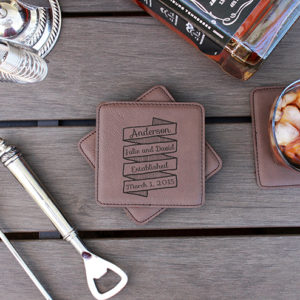 Personalized Leatherette Coasters | Anderson