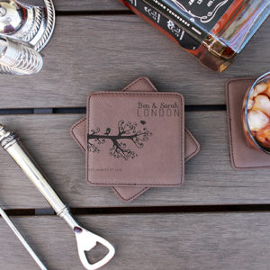 Personalized Leatherette Coasters | Ben Sarah