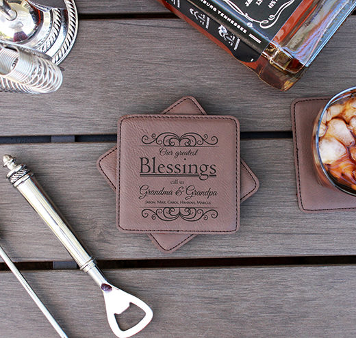 Personalized Leatherette Coasters | Blessings