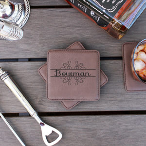 Personalized Leatherette Coasters | Bowman