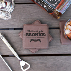 Personalized Leatherette Coasters | Bronx