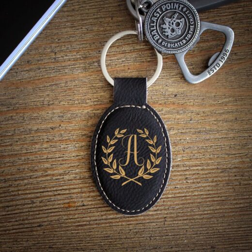 Personalized Faux Leather Keychain   A Reef