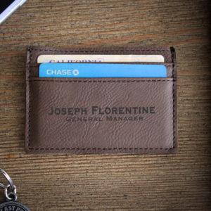 Leather Money Clip Wallet   Florentine
