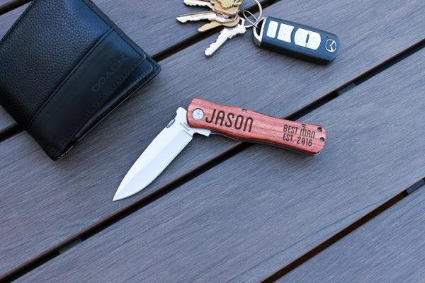 Personalized Wood Pocket Knife   Jason