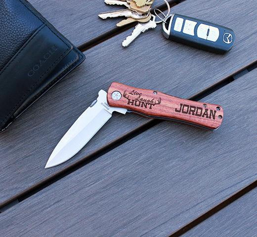 Personalized Wood Pocket Knife | Live Laugh Hunt