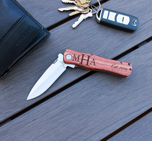 Personalized Wood Pocket Knife | MHA Date