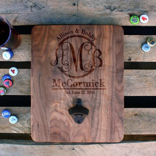 Custom Wood Bottle Opener Board | Allison & Bobby