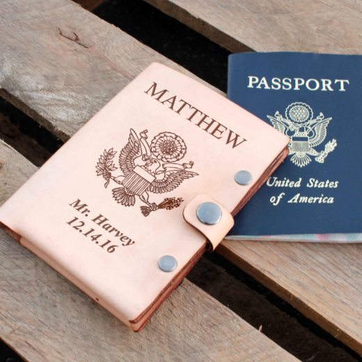 Personalized Leather Passport Wallet | Matthew