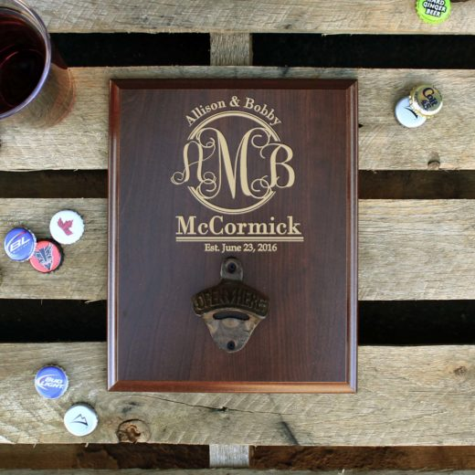 Custom Plaque Bottle Opener Board | Allison & Bobby