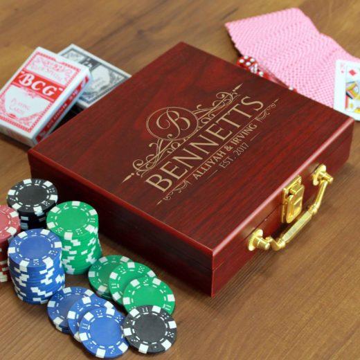 Rosewood Finish 100 Chip Poker Set | Bennets