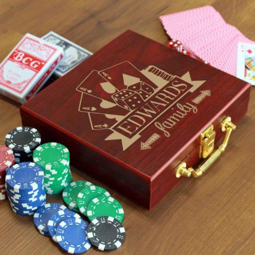 Rosewood Finish 100 Chip Poker Set | Edwards