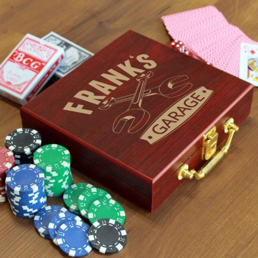 Rosewood Finish 100 Chip Poker Set | Frank