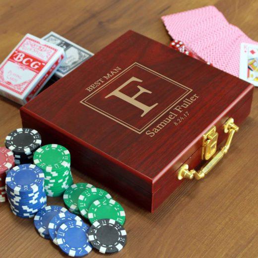 Rosewood Finish 100 Chip Poker Set | Fuller
