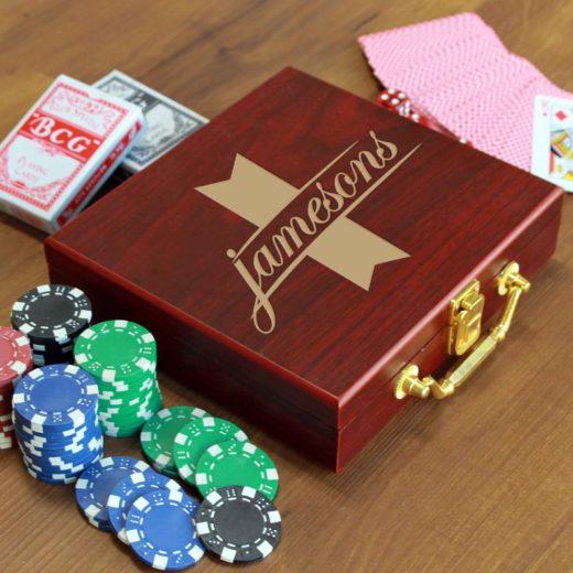 Rosewood Finish 100 Chip Poker Set | Jameson