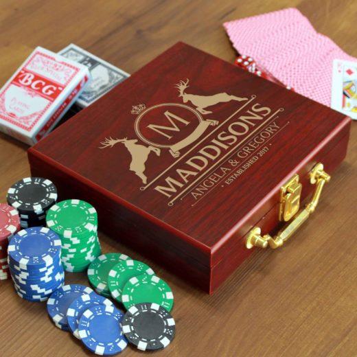 Rosewood Finish 100 Chip Poker Set | Madison