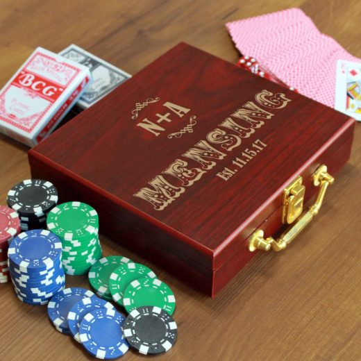 Rosewood Finish 100 Chip Poker Set | Mensing