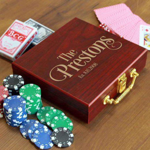 Rosewood Finish 100 Chip Poker Set | Prestons