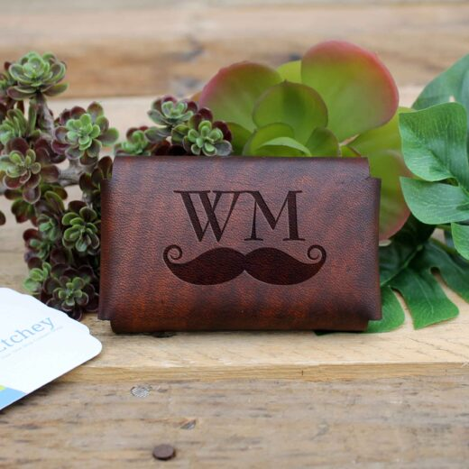 Genuine Leather Business Card Holder | WM Mustache