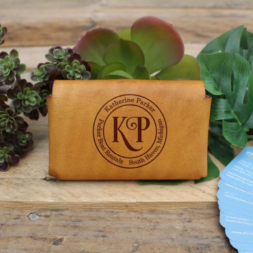 Genuine Leather Business Card Holder | Katherine Parker