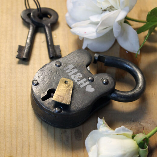 Antique Love Lock with Keys   M&H Heart