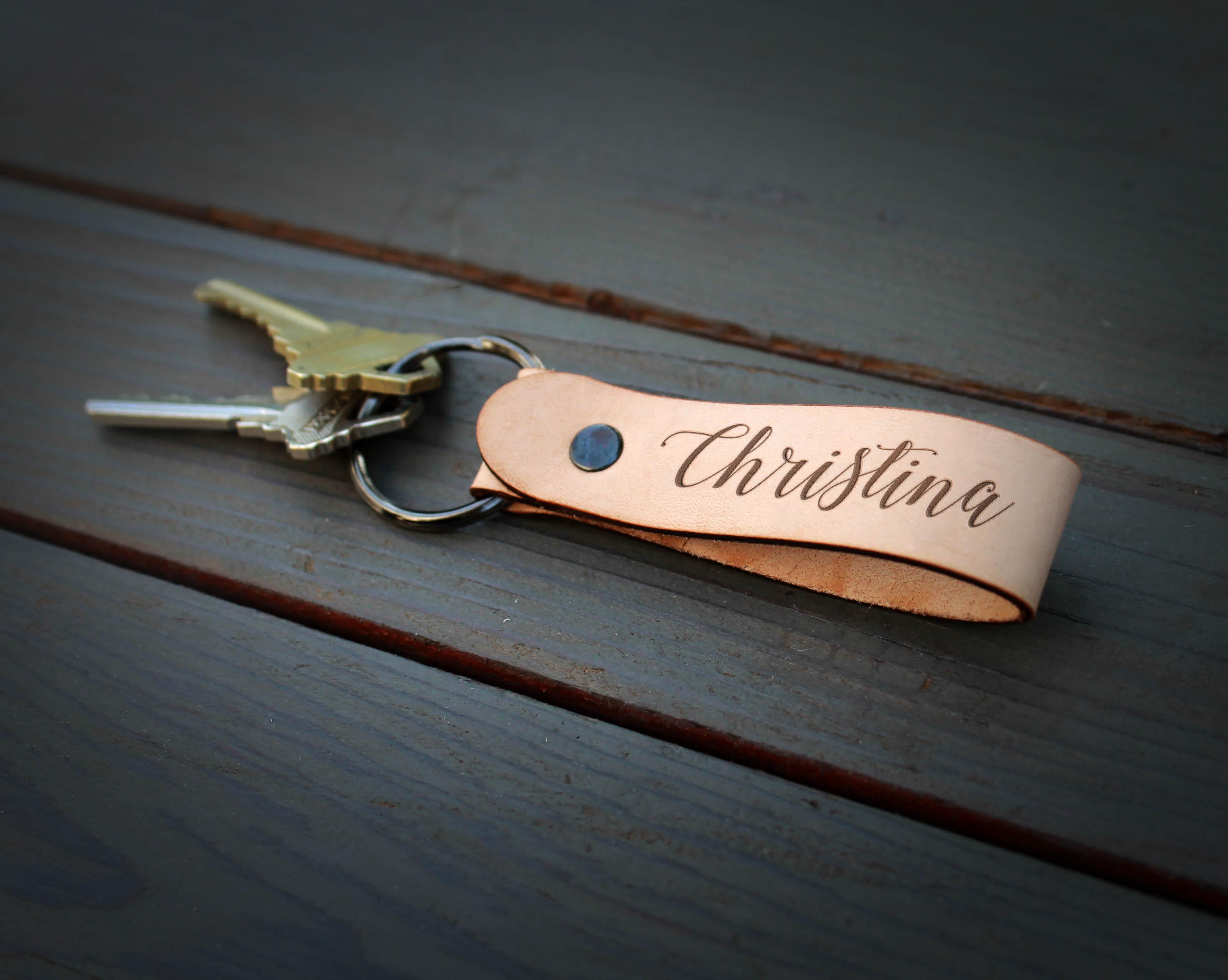 Genuine Leather Loop Keychain | Christina