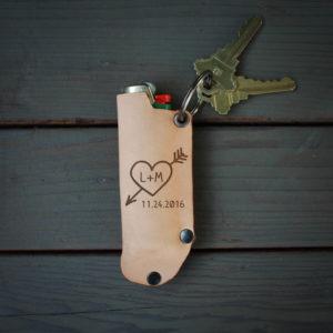 Genuine Leather Lighter Holder | Heart Initial