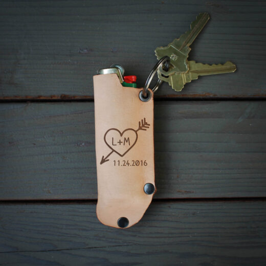 Genuine Leather Lighter Holder | Heart Initial