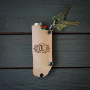 Genuine Leather Lighter Holder | T Scroll