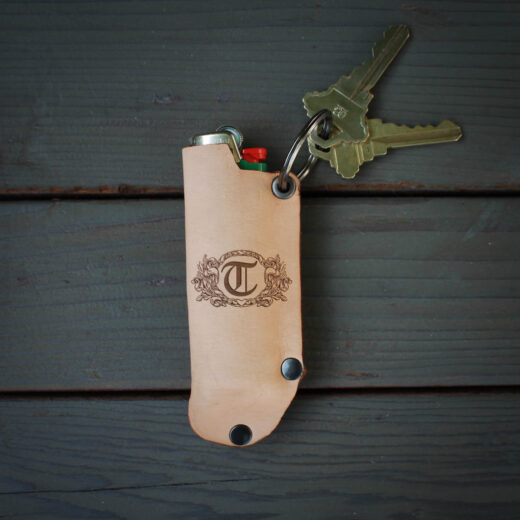 Genuine Leather Lighter Holder | T Scroll