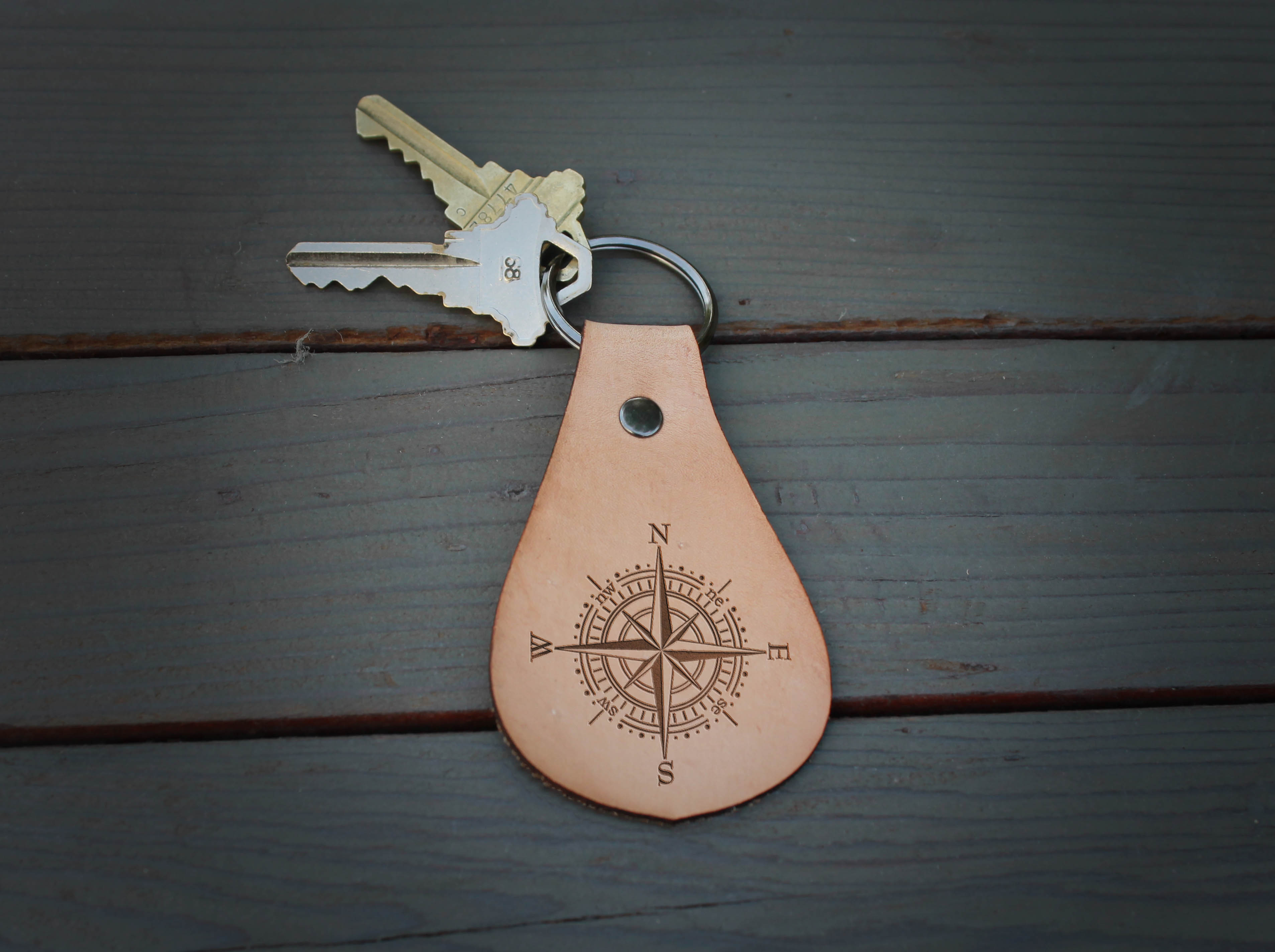 Genuine Leather Hobo Keychain | Compass