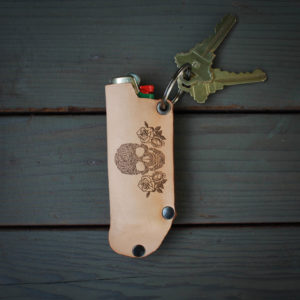 Genuine Leather Lighter Holder | Skull